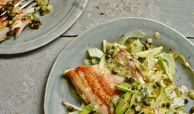 Pan-fried trout with cucumber, apple and dill salad
