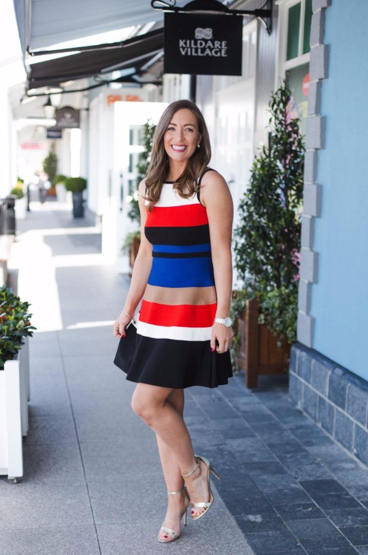 Karen Millen, red and blue stripe dress, Kildare Village
