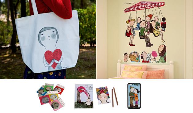 Lote de productos ilustrados por Eva Armisén